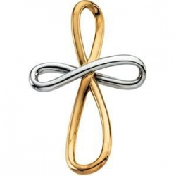 14K TWO TONE GOLD METAL FASHION CROSS