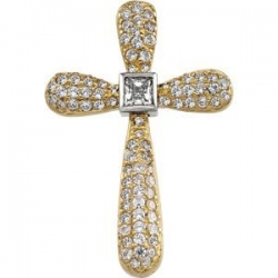 TWO TONE DIAMOND CROSS
