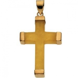 YELLOW JADE 14K YELLOW GOLD SQUARE CROSS