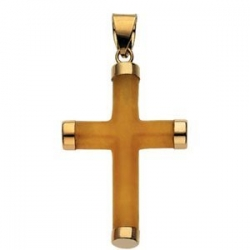 YELLOW JADE ROUND CROSS 14K YELLOW GOLD CROSS