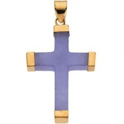 LAVENDER JADE 14K YELLOW GOLD SQUARE CROSS