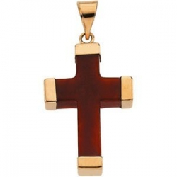 RED JADE 14K YELLOW GOLD SQUARE CROSS