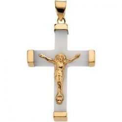 WHITE JADE SQUARE CRUCIFIX