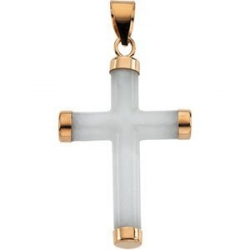 WHITE JADE 14K YELLOW GOLD ROUND CROSS