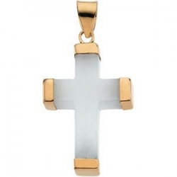 WHITE JADE SQUARE 14K YELLOW GOLD CROSS