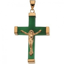 GREEN JADE SQUARE CRUCIFIX