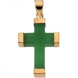 GREEN JADE SQUARE CROSS 14K YELLOW GOLD CROSS