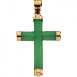 GREEN JADE ROUND CROSS 14K YELLOW GOLD CROSS