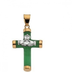 14K Two Tone GREEN JADE ROUND CLADDAUGH CROSS