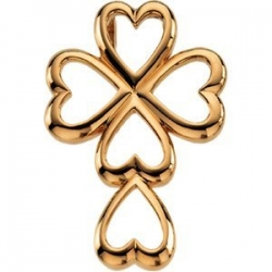 14K Yellow Gold Heart CROSS PENDANT