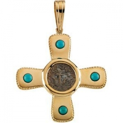 14K Yellow Gold TURQUOISE CROSS PENDANT