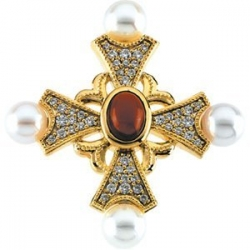 DIAMOND GENUINE GARNET CAB AND CULTURED PEARL CROS