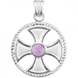 GENUINE AMETHYST MALTESE ROPE CROSS