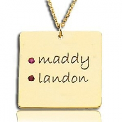 Posh Mommy     with Two Birthstones Square Pendant