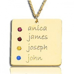 Posh Mommy  with Four Birthstones Square Pendant