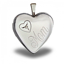 Sterling Silver  Mom  Heart with Cubic Zirconia Locket