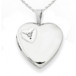 Sterling Silver Heart with Cubic Zirconia Locket
