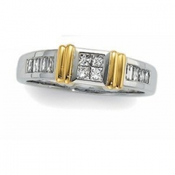 TWO TONE DIAMOND DUO WEDDING BAND