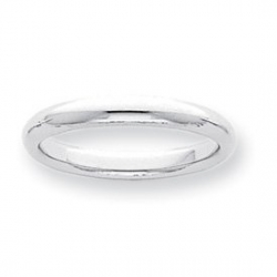 Platinum 3mm Half Round Comfort Fit Lightweight Band