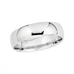 Platinum 6mm Half Round Comfort Fit Lightweight Band