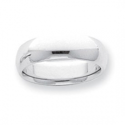 Platinum 8mm Half Round Comfort Fit Lightweight Band