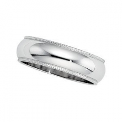 Platinum 6mm Comfort Fit Milgrain Wedding Band