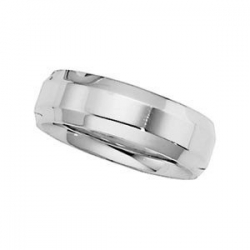 Platinum 6mm Polished Beveled Edge Wedding Band