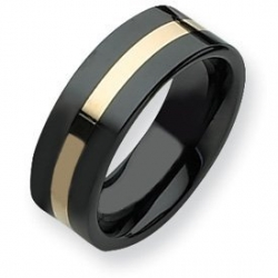 Ceramic Black with 14k Inlay 8mm Polished Band