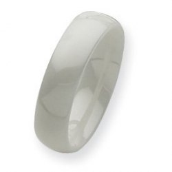 Ceramic White 6mm Polished Wedding Band