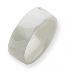 Ceramic White 8mm Polished Wedding Band