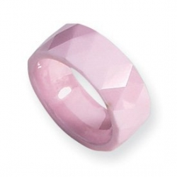 Ceramic Pink Faceted 8mm Polished Wedding Band