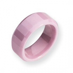 Ceramic Pink Faceted Beveled Edge 8mm Polished Wedding Band