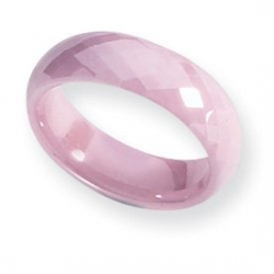 Ceramic Pink Faceted 6mm Polished Band