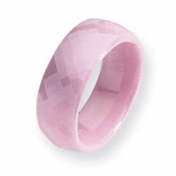 Ceramic Pink Faceted 7 5mm Polished Band