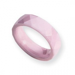 Ceramic Pink Faceted 6mm Polished Wedding Band