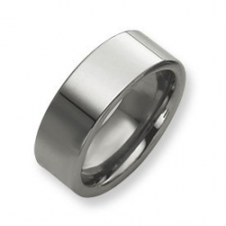 Tungsten Flat 8mm Polished Wedding Band