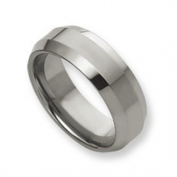 Tungsten Beveled Edge 8mm Polished Wedding Band