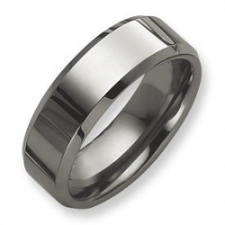 Tungsten Beveled Edge Flat 8mm Polished Wedding Band
