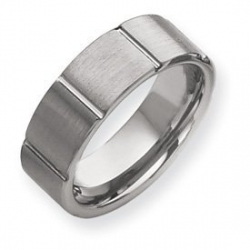 Tungsten Beveled Edge 9mm Brushed and Polished Wedding Band