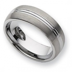 Tungsten Grooved 8mm Brushed and Polished Wedding Band