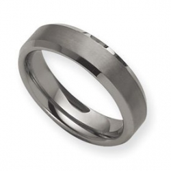 Tungsten Beveled Edge 6mm Brushed and Polished Wedding Band