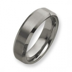 Tungsten Beveled Edge 7mm Brushed and Polished Wedding Band
