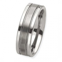 Tungsten Flat Grooved 8mm Brushed and Polished Wedding Band