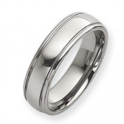 Tungsten Grooved 7mm Polished Wedding Band