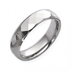 Tungsten Faceted 6mm Polished Wedding Band
