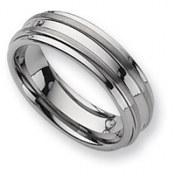 Dura Tungsten Grooved 7mm Brushed and Polished Wedding Band