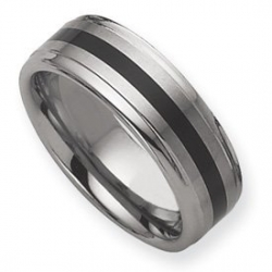 Dura Tungsten Enameled 8mm Brushed and Polished Wedding Band