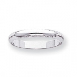 14k White Gold 3mm Half Round Wedding Band