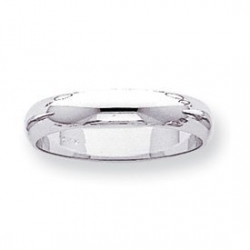 14k White Gold 4mm Half Round Wedding Band