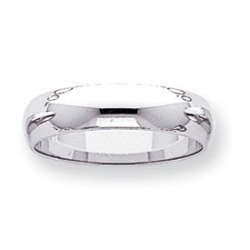 14k White Gold 5mm Half Round Wedding Band